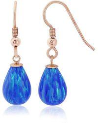 Lavan - 9kt Gold Large Dark Blue Opal Teardrop Earrings - Lyst