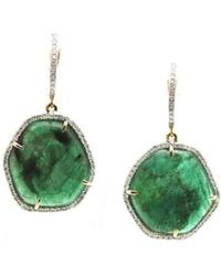Trésor - 18kt Yellow Gold Earrings With Emerald Slice And Diamond - Lyst