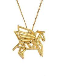 Origami Jewellery Sterling Silver & Gold Mini Pegaze Origami Necklace q3WGYScFz