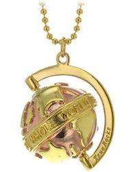 True Rocks - Small Yellow & Rose Gold Plated Silver Revolving Globe Pendant - Lyst