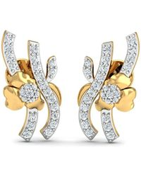 Diamoire Jewels Nature Inspired Hand-carved 18kt Yellow Gold and Diamond Pave Earrings Q3kqnG