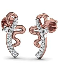 Diamoire Jewels Relished Heart-Carved Diamond Earrings in 18kt Rose Gold rAlRqvzOK