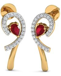 Diamoire Jewels Nature Inspired Ruby and Premium Quality Diamond Earrings in 10kt Yellow Gold 2VLuE
