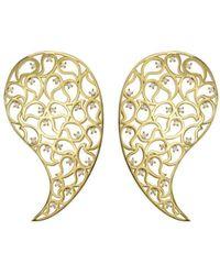 Sonal Bhaskaran - Jaali Gold Paisley Earrings With Clear Cubic Zirconia - Lyst