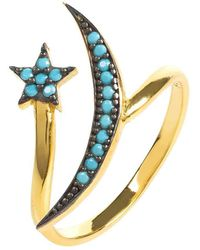 LÁTELITA London - Yellow Gold Plated Moon & Star Ring With Turquoise Cubic Zirconia - Lyst