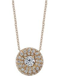Harry Kotlar - Round Diamond Solitaire Chevron Artisan Pave Necklace - Lyst