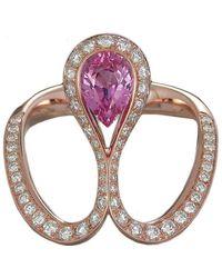 Baenteli - Rose Gold & Pink Sapphire Royale Pear Ring   - Lyst