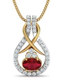 Diamoire Jewels - Nature Inspired Oval Shape Ruby And Diamond Pendant In 10kt Yellow Gold - Lyst