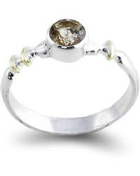 Agneta Bugyte | Classical Sterling Silver And Gold Ring With Faceted Rutilated Quartz | Lyst