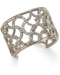 anahita jewelry 18kt white gold cuff weave ring with diamonds lyst