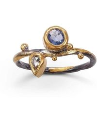 Bergsoe - Sapphire Seafire Ring With Dropshaped Diamond - Lyst