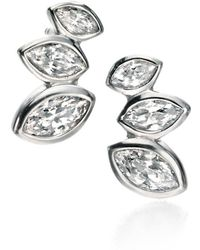 Fiorelli - Clear Cz Marquise Cluster Stud Earrings - Lyst