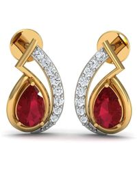 Diamoire Jewels 14kt Yellow Gold Pave Earrings with 12 Diamonds and 2 Round Cut Rubies 9ORhWIT