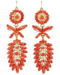 Luis Mendez Artesanos - 18kt Gold & Seed Coral Spike Earrings - Lyst