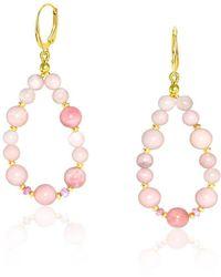 Regenz - La Vie En Rose 10kt Gold Drop Earrings - Lyst