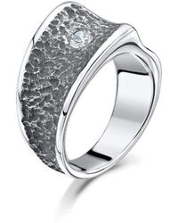 Becky Rowe - Chunky Silver Contrast Cubic Zirconia Ring - Lyst