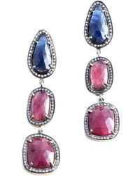 M's Gems by Mamta Valrani - Regalia Drop Earrings With Ruby, Sapphire And Diamonds - Lyst