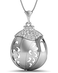Diamoire Jewels - Hand-carved 14kt White Gold And Diamonds Pave Pendant - Lyst