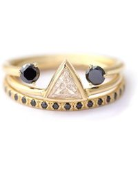 ARTEMER - Trinity Bridal Set: Trillion Diamond With Black Diamond Rings - Lyst