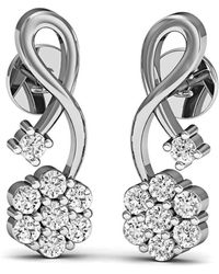 Diamoire Jewels - 16 Diamonds And Hand-carved 10kt White Gold Prong Diamond Earrings - Lyst