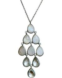 Shimmer by Cindy - Rhodium Plated Ombre Necklace With Rainbow Moonstone, White Druzy & Crystal Quartz - Lyst