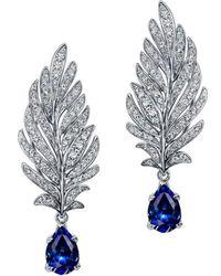 Chekotin Jewellery - White Gold, Diamond & Sapphire Angel Earrings | - Lyst