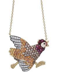 Pinomanna - Gold & Sapphire Natural Chic Running Chicken Necklace   - Lyst