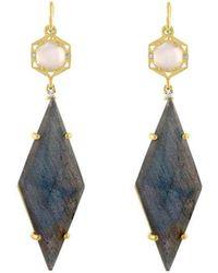 Amy Glaswand - 14kt Gold, Moonstone & Labradorite Geo Earrings - Lyst