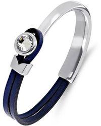 Yan Neo London - Poppy Navy & Silver Leather Bracelet - Lyst