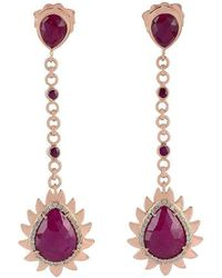 Meghna Jewels - Flame Chain Drop Earrings With Ruby - Lyst