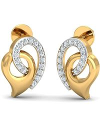 Diamoire Jewels 18kt Yellow Gold 0.16ct Pave Diamond Infinity Earrings II p0b7QYdH