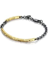 Becky Rowe Yellow Gold Beaten Bangle With Oxidised Silver Chain | - Metallic