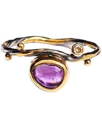 Bergsoe - Seafire Ring With Champagne Diamond And Sapphire - Lyst