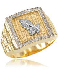 QP Jewellers - Cz Watchband Design Prayer Cross Ring In 9kt Gold - Lyst
