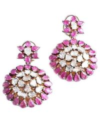 M's Gems by Mamta Valrani - Dazzle Earrings With Diamonds And Rubies - Lyst