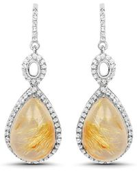 Olivia Leone - Rhodium Plated Silver Golden Rutile Dangle Earrings - Lyst