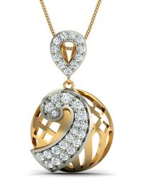 Diamoire Jewels - Premium Quality Diamond And 10kt Yellow Gold Nature Inspired Pendant - Lyst