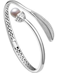 Fei Liu - Rhodium Plated Snowdrop Pearl Leaf Bangle With Cz - Lyst