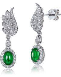 SILVER YULAN | Cabochon Emerald Diamond Wing Earrings | Lyst