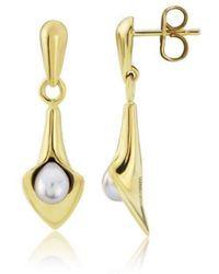 Amanda Cox Jewellery - 9kt Gold Small Drop Lily Pearl Earrings - Lyst