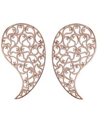 Sonal Bhaskaran - Jaali Rose Gold Paisley Earrings With Clear Cubic Zirconia - Lyst
