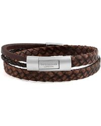 Tateossian - Silver & Brown Leather Cobra Doppio Bracelet | - Lyst