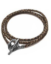 Luke Goldsmith - Tan Brown Leather Braided Wrap Bracelet - Lyst