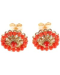 Luis Mendez Artesanos - 18kt Gold & Coral Rose Earrings - Lyst