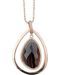 Shimmer by Cindy - Rose Gold Plated Abstract Halo Necklace With Black Glass Stone - Lyst