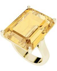 StyleRocks - Citrine Emerald Cut 9kt Yellow Gold Cocktail Ring - Lyst