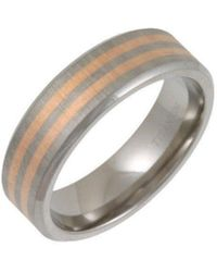 Star Wedding Rings - Titanium Flat Court Shape Matt With Two 9kt Rose Gold Inlay Ring - Lyst