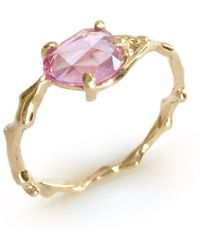 Brandts Jewellery - Twig Ring In Solid Gold With Rose Cut Pink Sapphire - Lyst