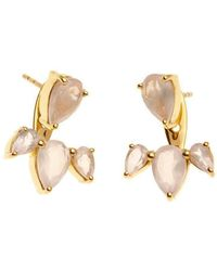 Silk And Steel - Gold Allure Ear Jackets With Rose Quartz - Lyst