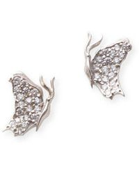 J.Herwitt - Small Butterfly Earrings Side View White Gold - Lyst